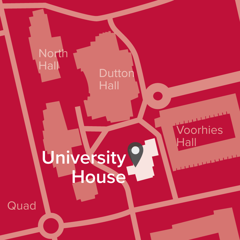 Campus map showing Univeristy House where NAASSC is located